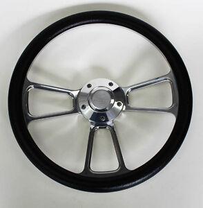 El-Camino-Nova-Chevelle-Steering-Wheel-Kit-Black-and-Billet-14-034-Chevy-Bowtie-Cap