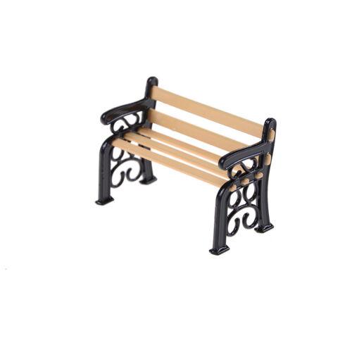 1:12 Banco De Madera Metal Casa de muñecas en miniatura muebles de jardín lduk Accesorios