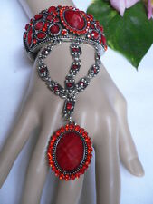 New Women Fashion Bracelet Ring Red Flower Rhinestones Metal Cuff Slave Chain