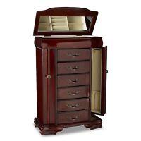 Jewelry Armoire Chest Box Storage Cabinet Stand Wood Organizer Walnut Women Gift