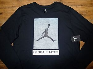 NIKE MENS AIR JORDAN RETRO V 5 P-51 BLACK LONG SLEEVE SHIRT 864927 ... dc648353064a8