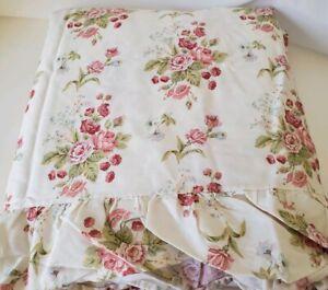 Ralph-Lauren-Emily-Anne-Ruffle-King-Flat-Sheet-Cottage-Roses-Floral-Cabin