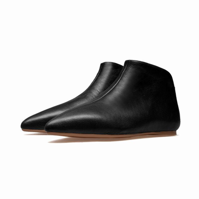 Moda Para mujeres Cuero Tacón Bajo Puntera Puntiaguda botas al Tobillo Zapatos de tirar de sólido Plus Sz