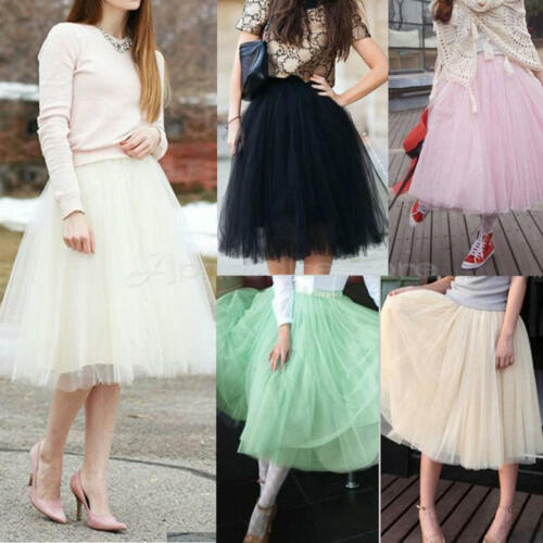 5 Layer Tulle Skirt Vintage Dress 50s Rockabilly Tutu Petticoat Ball Gown