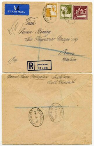 PALESTINE 1946 REGISTERED AIRMAIL to ITALYJERUSALEM