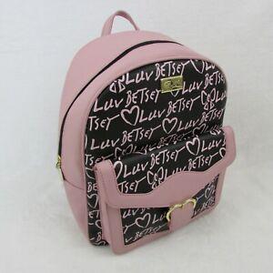 Betsey-Johnson-Backpack-Pink-amp-Black-Luv-Print-Womens-Bag-LBMARIAH-88-Retail