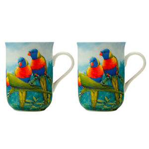2PK Maxwell & Williams Birds of Australia 300ml Bone China Coffee Mug Lorikeet