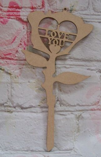 Valentine  Rose MDF I LOVE YOU 250mm tall Craft Blank
