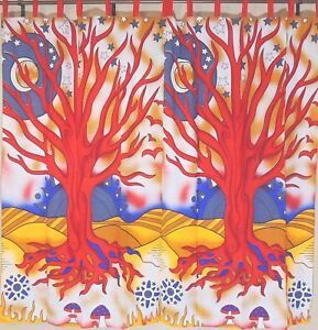 Red Tree Of Life 2 Tab Top Window Treatments Indian