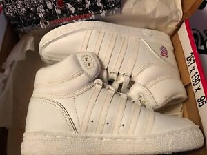 premium selection 2fe4b 10b37 Image is loading Vintage-Youth-K-Swiss-Classic-High-Top-White-