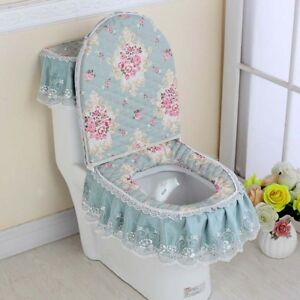Miraculous Details About 3Pcs Toilet Seat Cover Set Lace Floral Print Closestool Protector Toilet Cushion Alphanode Cool Chair Designs And Ideas Alphanodeonline