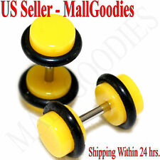 2056 Yellow Fake Cheaters Illusion Faux Ear Plugs 16G Bar 2G = 6mm - 2pcs