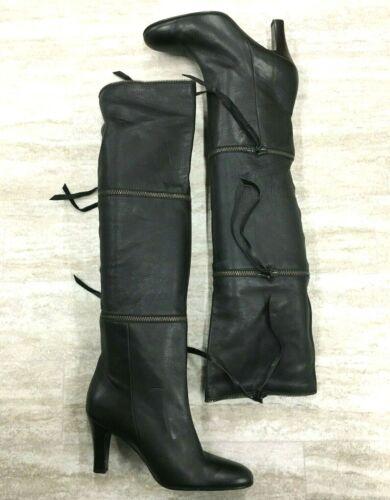 Kniehoch Schwarz Absatz Stiefel Größe 3 In Bcbgmaxazria 1 Leder Reißverschluss Ybfgy67