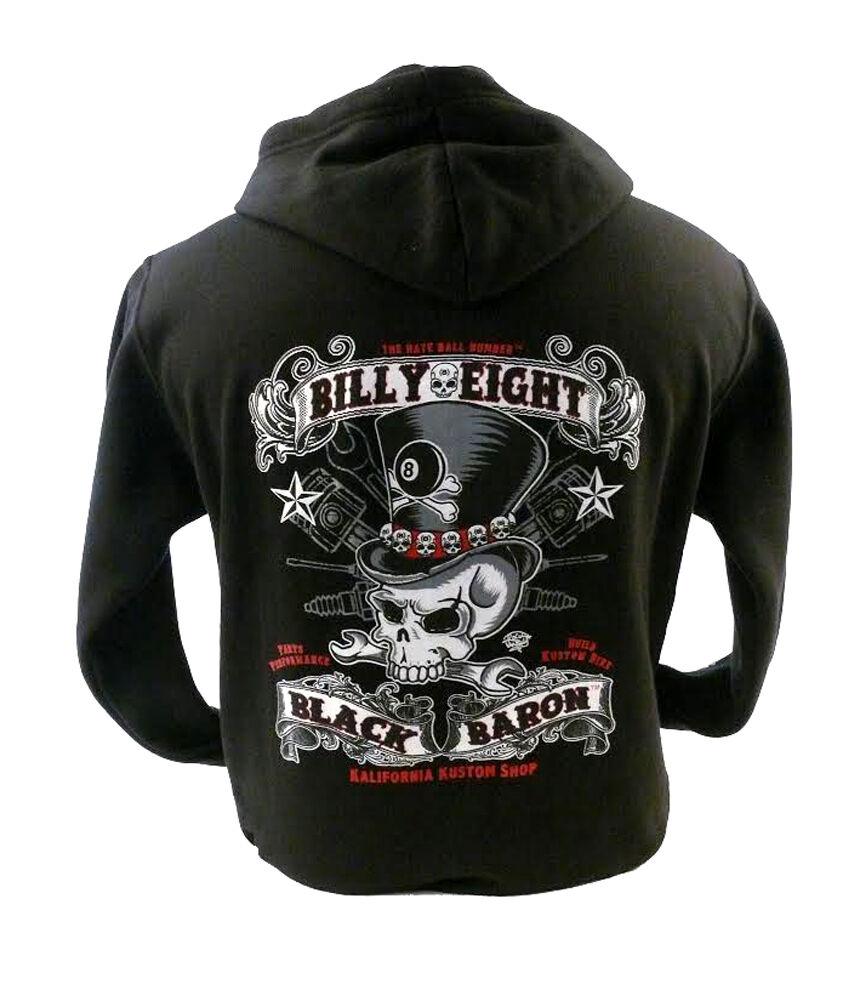 nero BARON-BILLY Eight-Felpa con cappuccio da uomo-stile biker, rock-A-BILLY USA