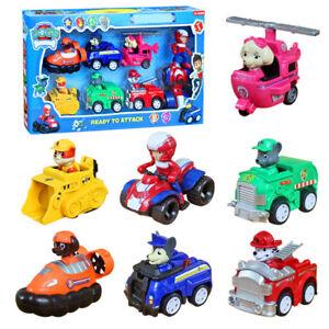 7pcs Fun Paw Patrol Dog Action Figures Doll Racer Car Set Kids Baby Boy Girl Toy