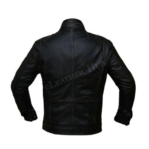 Men Biker Bomber Vintage Motorcycle Distressed Black Real Leather Jacket