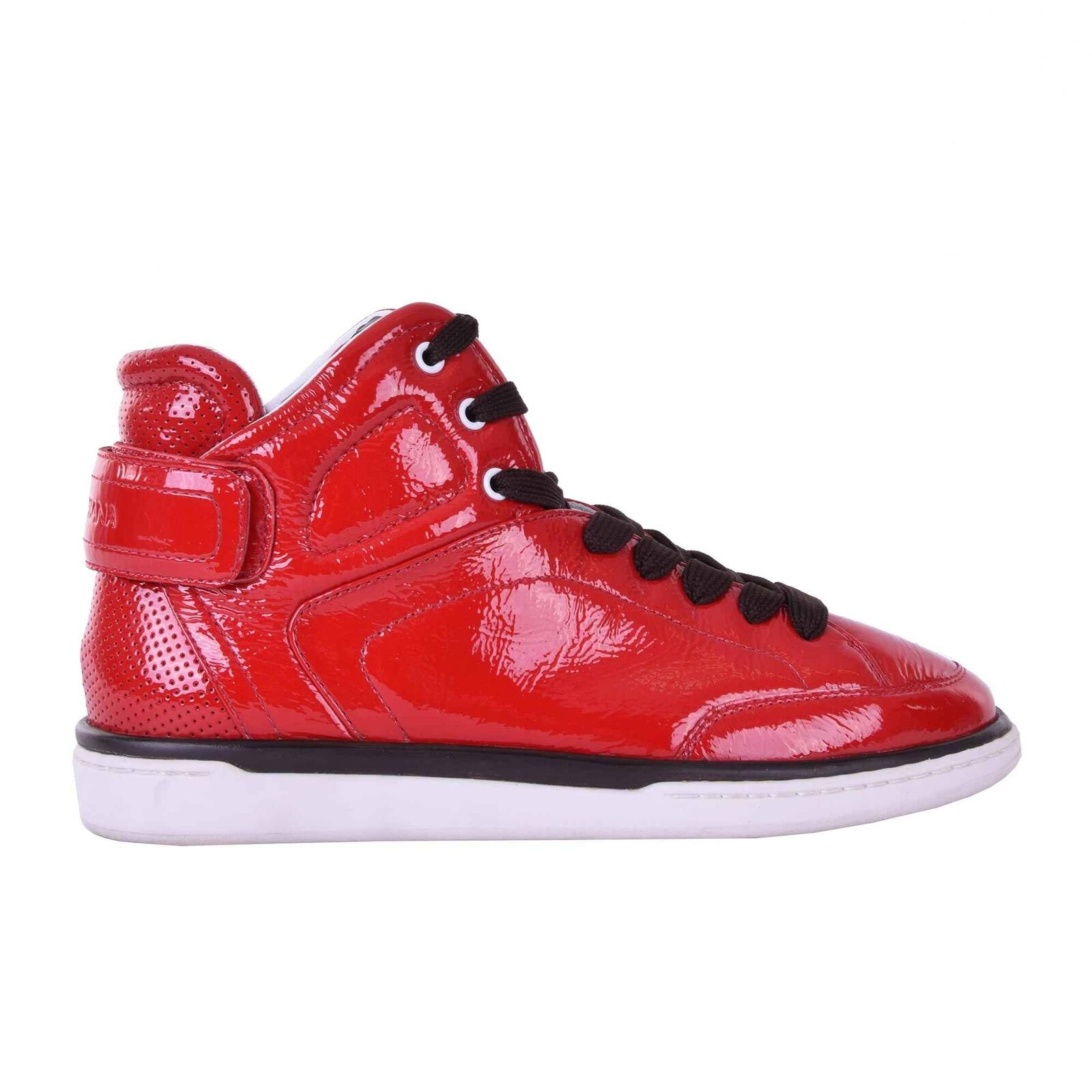 Scarpe casual da uomo  DOLCE & GABBANA High-Top Patent Leather Sneaker Sneakers Shoes USLER Red 05922