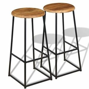 detailed look 76b3b ed3fc Details about Set of 2 Solid Teak Metal Bar Stools Round Wooden Top Kitchen  Home Office