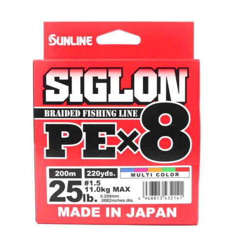 Sunline Siglon Braided Ligne X8 200M P.E 1.5 25LB Multi Color 2141