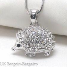 Austrian Crystal White Gold Plating Porcupine Hedgehog Charm Pendant Necklace