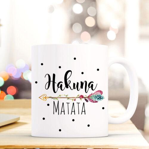Tasse Becher Spruch Hakuna Matata Kaffeebecher Geschenk Punkte Kaffeetasse ts673