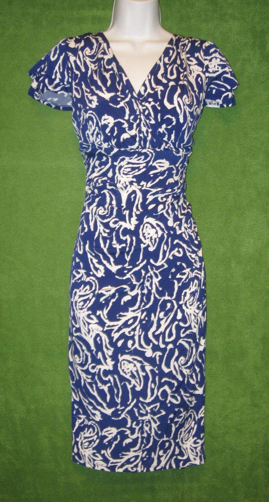 dce08bfee20232 LRL Ralph Lauren Blau Weiß Stretch Jersey Ruched Social Dress 22W PLUS