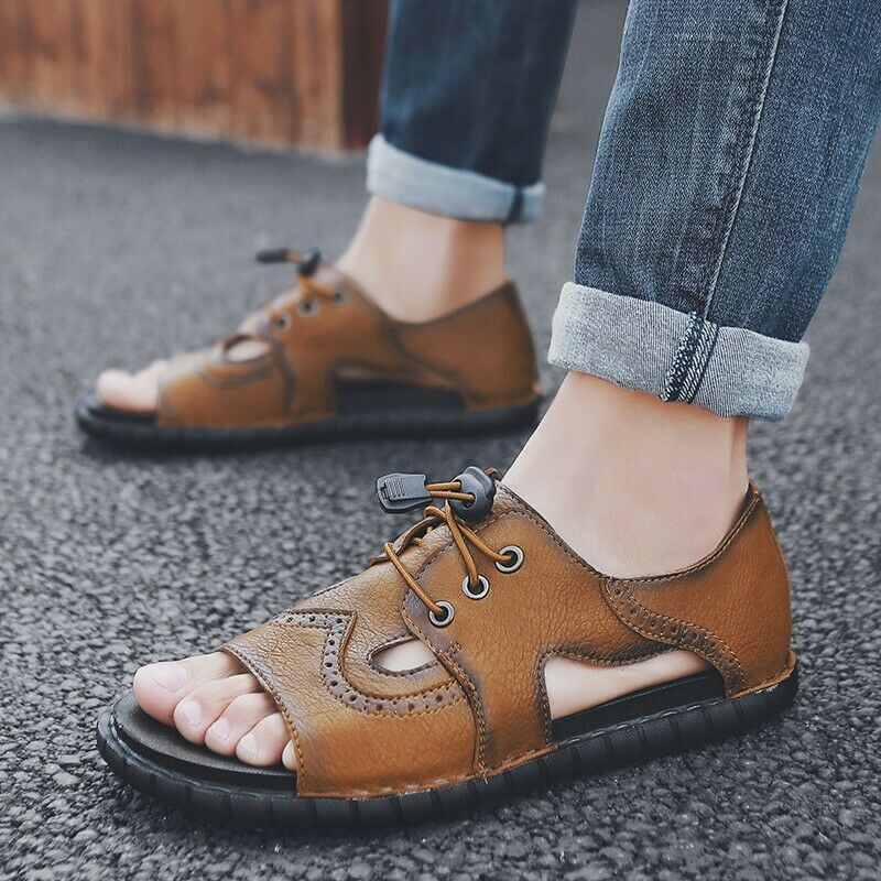 Mens Open Toe Lace Up Hollow Out Carving Leisure Sandals shoes Lace U Zsell
