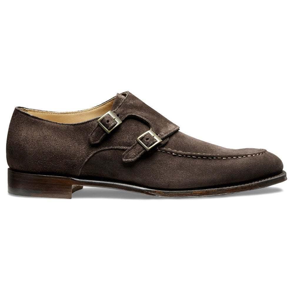 Hecho a mano para hombres Genuino ante marrón oscuro Formal Zapatos Clásicos Doble Monje Correa