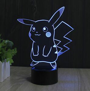 2017 Pokemon GO Lamp Pikachu 3D LED 7 Color Changing Touch Switch Table