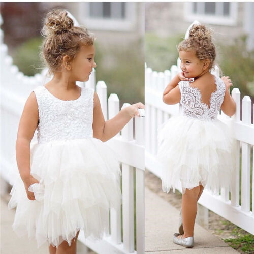 Toddler Kids Flower Girl Dress Tutu Tulle Princess Dress Wedding Party Age New