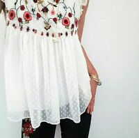 ZARA FLORAL EMBROIDERED TOP BLOUSE WHITE FRILL LAYERED BLOGGER LOVE SIZE XS