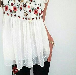 1a044b85472d9b Image is loading ZARA-FLORAL-EMBROIDERED-TOP-BLOUSE-WHITE-FRILL-LAYERED-