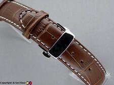Reloj correa Croco mariposa broche Oscuro Color Marrón / blanco 24mm