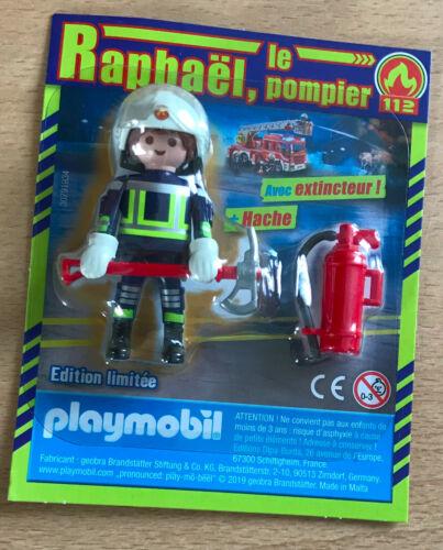RAPHAEL LE POMPIER DU 112 EXTINCTEUR FIGURINE PLAYMO PLAYMOBIL DE MAGAZINE