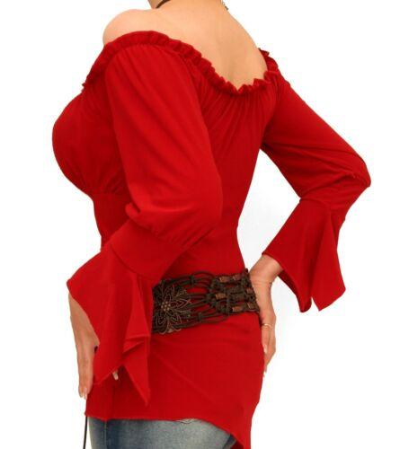 con tunica New Off campana Shoulder maniche Banana Red Blue Top The a a 1qzpW