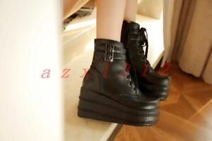 Hot-Sale-Goth-Punk-Women-039-s-Lace-Up-Platform-Thick-Sole-Ankle-Boots-Buckle-Shoes