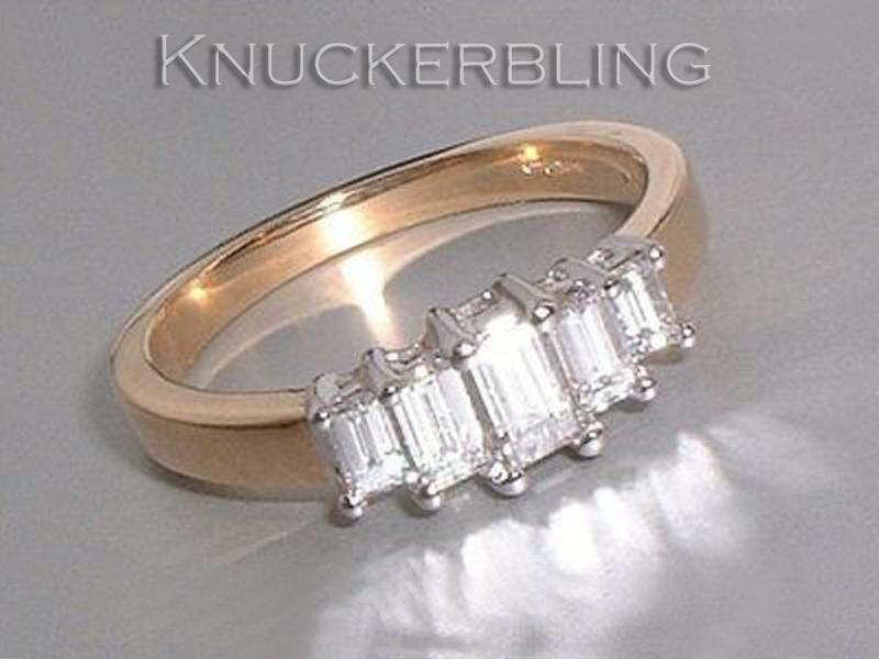 Diamond Ring  0.64ct Emerald Cut 5-Stone Diamond and 18ct gold Engagement Ring
