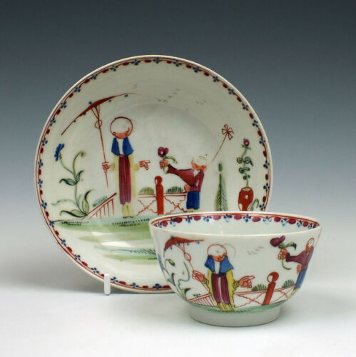 New Hall Porcelain Boy and Butterfly Pattern Tea Bowl & Saucer c1795