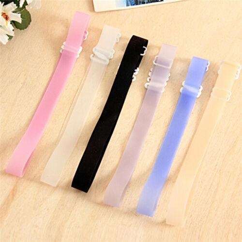 2Pairs 1.5 CM Silicone Adjustable Transparent Invisible Bra Straps Underwear I2