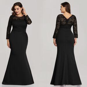 da69f69994e2 Ever-Pretty Plus Size Long Black Evening Gowns Chiffon Cocktail Prom ...