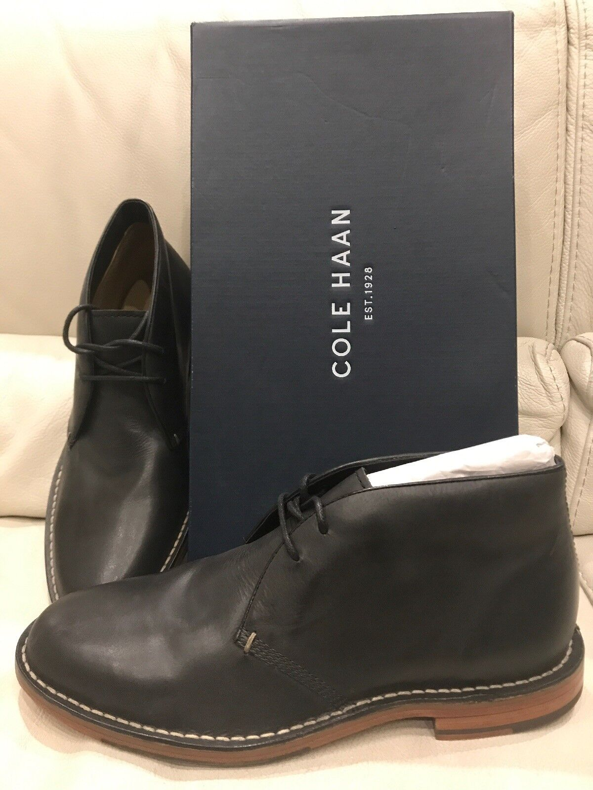 AUTHENTIC COLE HAAN GROVER CHUKKA ANKLE BOOT BLACK LEATHER MEN'S SHOES 8 CLASSIC