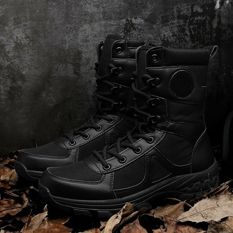 Mens Real Leather Combat Army Military Boots Lace Up Outdoor Waterproof shoes sz