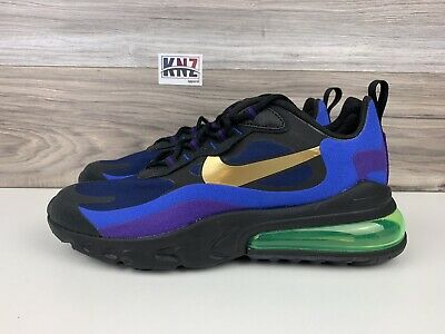 Arábica Lobo con piel de cordero Numérico  Men's NIKE Air Max 270 React Black University Gold Blue | size 9 | AO4971  005 | eBay