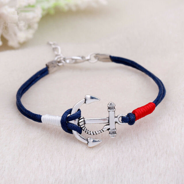 New Charm Silver Anchor Multilayer Rope Braided Bracelet Women Summer Jewelry