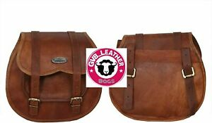 Saddle Panniers 2 Bags Motorcycle Saddlebags Side Brown precious Leather Pouch