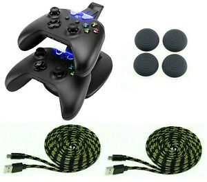 Controller-Ladestation-4x-Thumb-Grips-2x-Ladekabel-3-Meter-fuer-Xbox-One