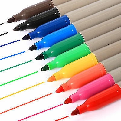 10 x BRANDED PERMANENT MARKER PENS ASSORTED COLOURS FINE POINT TIP Sharpie Mixed
