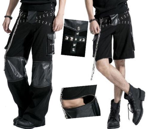 Pantalon short transformable gothique punk baggy cuir chaînes large Punkrave