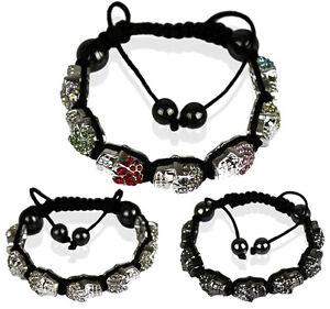 Ladies-New-Crystal-Skull-Bracelet-Women-s-Beautiful-Crystal-Disco-Ball-Beads
