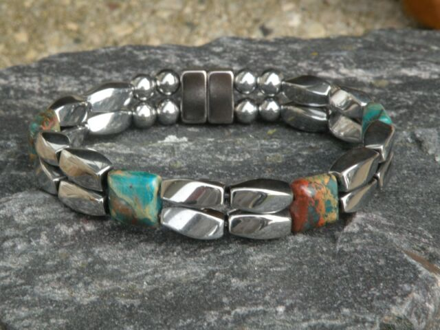 Men/'s Magnetic Hematite Picture Jasper Bracelet Anklet Necklace Powerful Therapy